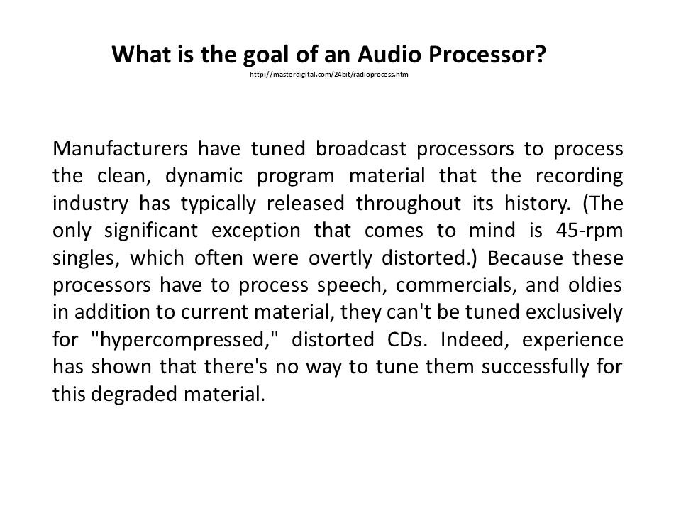 What is the goal of an Audio Processor