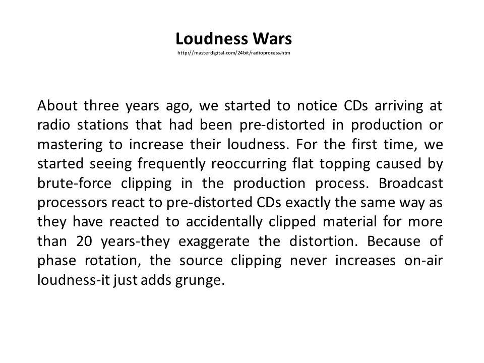Loudness Wars http://masterdigital.com/24bit/radioprocess.htm.