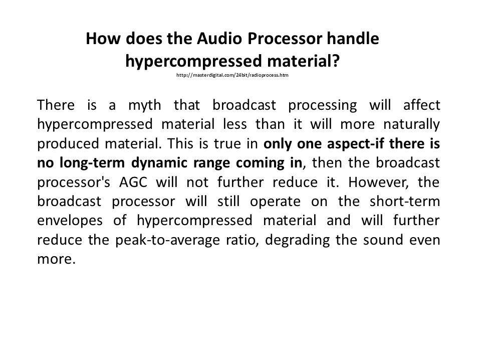 How does the Audio Processor handle hypercompressed material