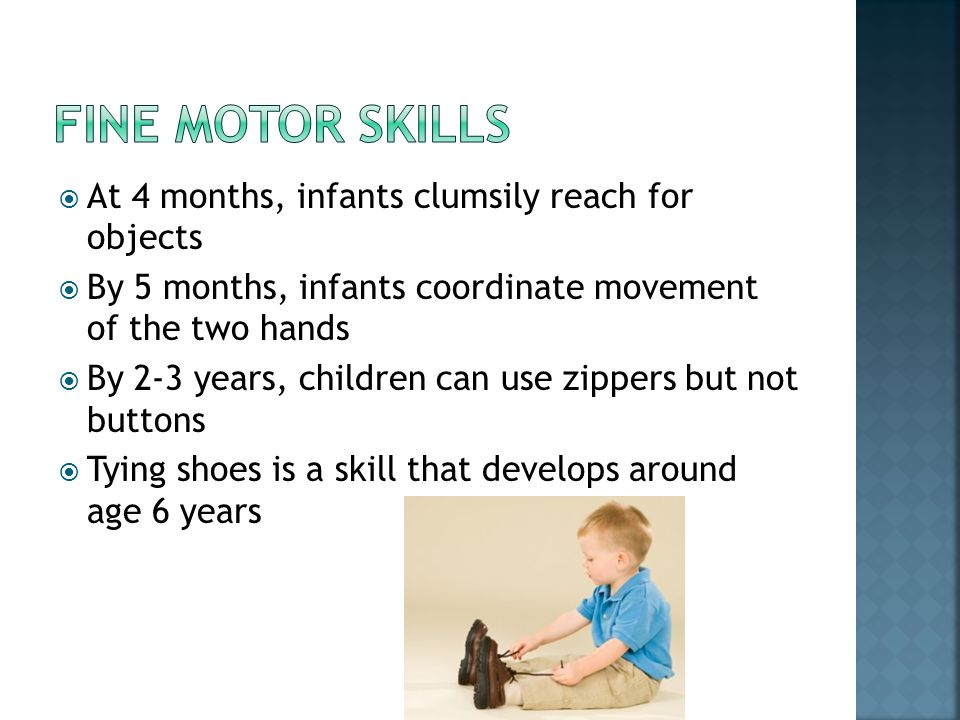 Fine motor skills At 4 months, infants clumsily reach for objects