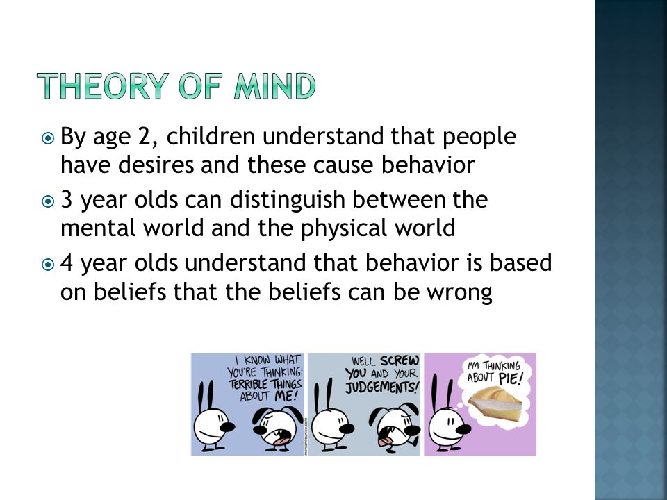 Theory of mind By age 2, children understand that people have desires and these cause behavior.