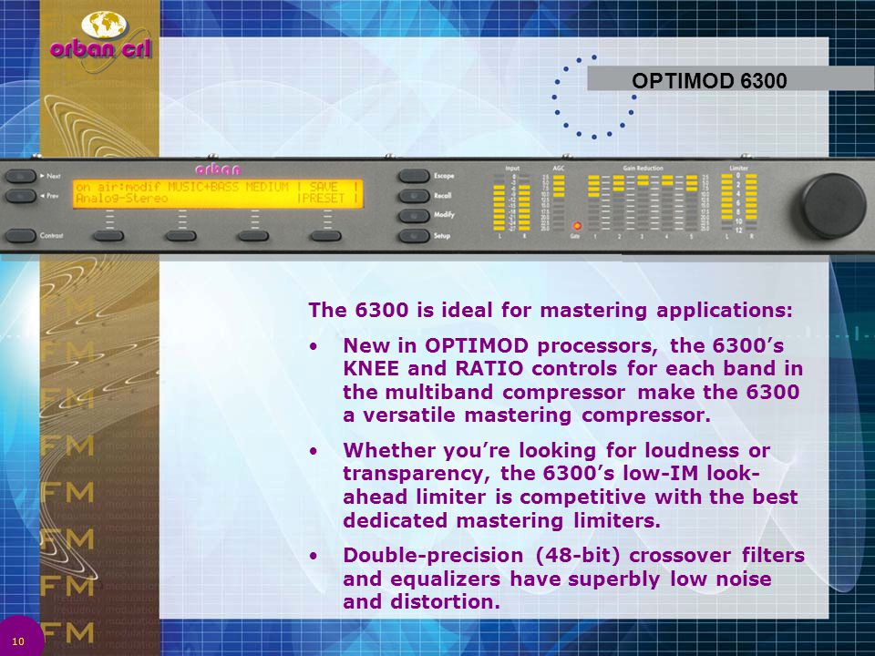 OPTIMOD 6300 The 6300 is ideal for mastering applications: