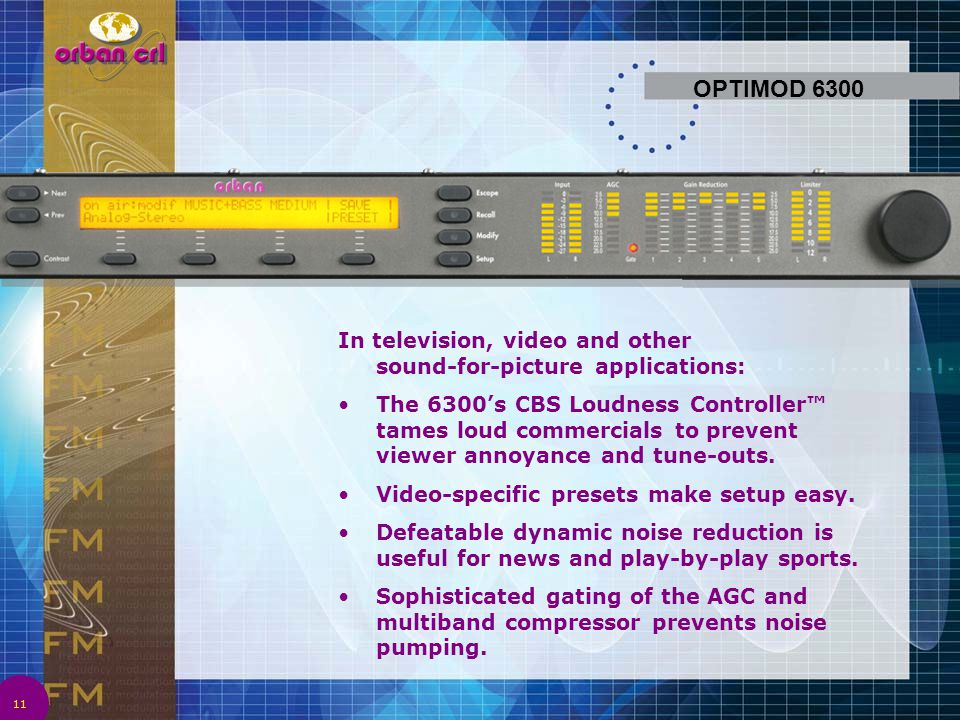 OPTIMOD 6300 In television, video and other sound-for-picture applications: