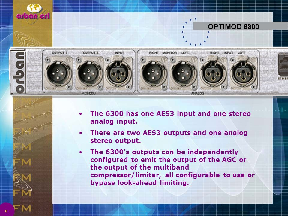 OPTIMOD 6300 The 6300 has one AES3 input and one stereo analog input.