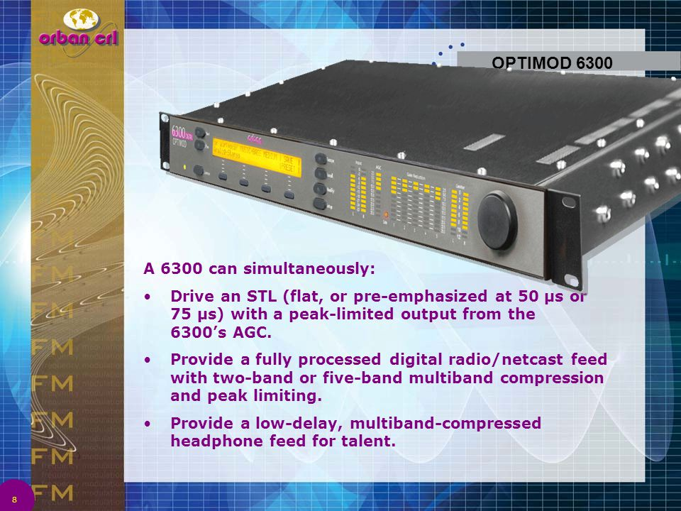 OPTIMOD 6300 A 6300 can simultaneously:
