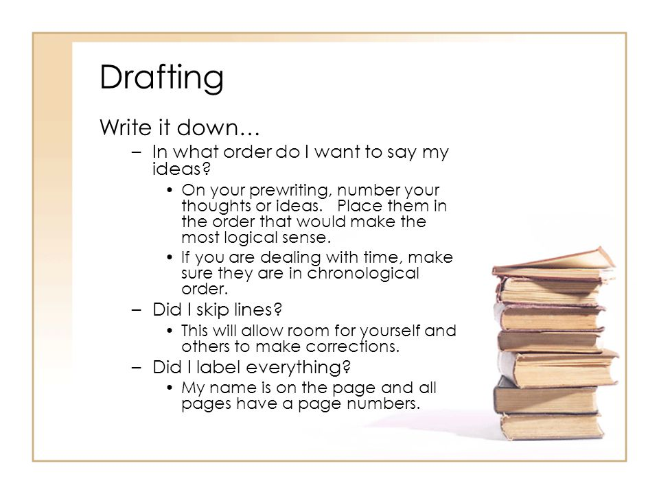 Drafting Write it down… In what order do I want to say my ideas