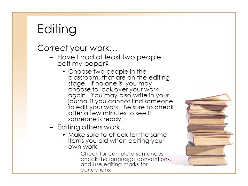Editing Correct your work…