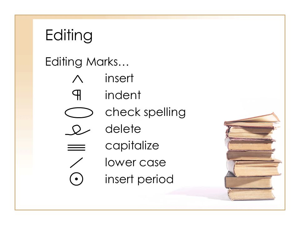 Editing Editing Marks… insert indent check spelling delete capitalize