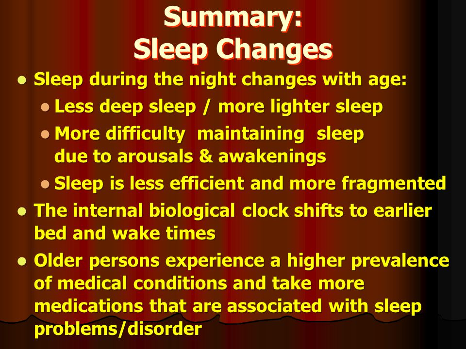 Summary: Sleep Changes