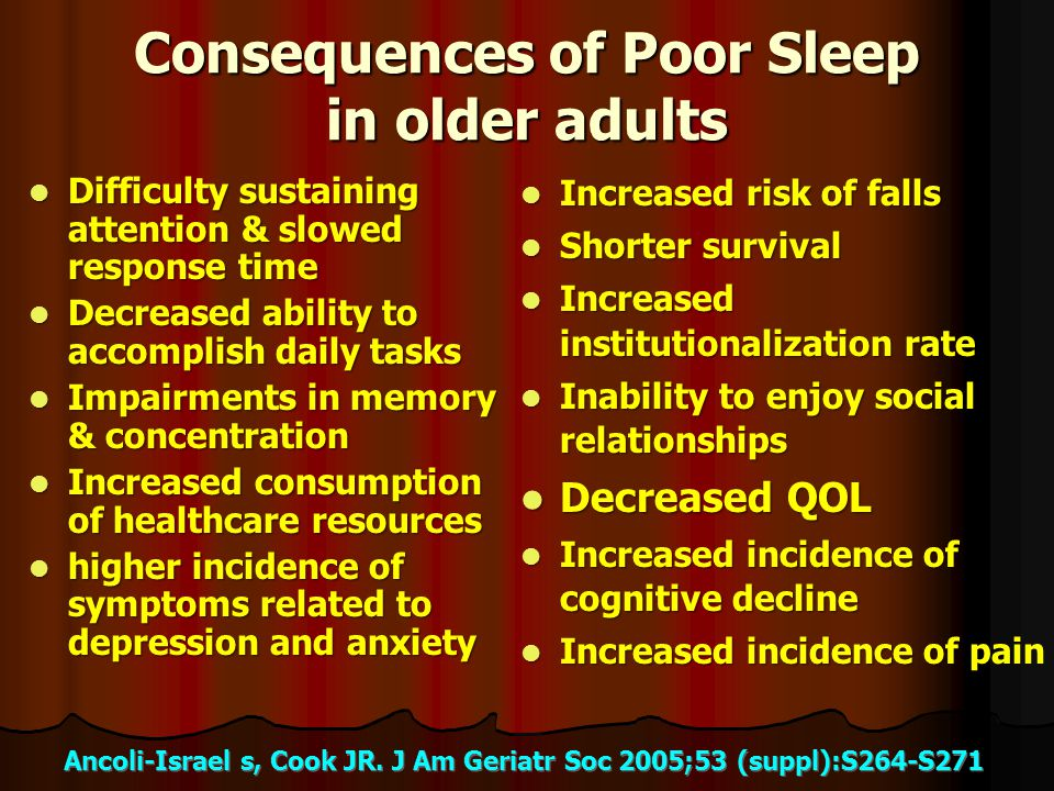 Consequences of Poor Sleep in older adults