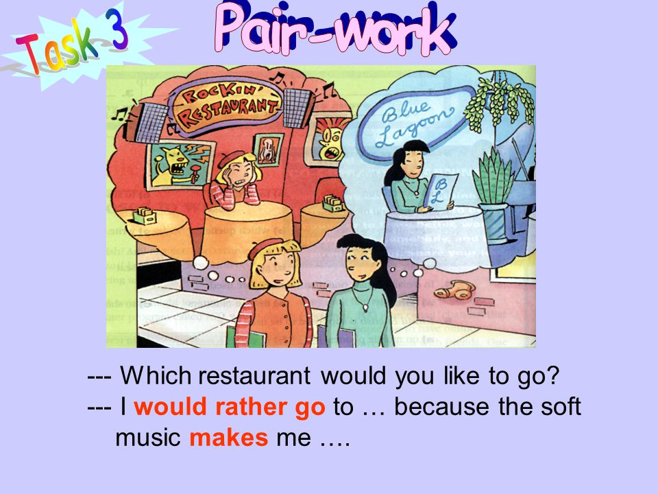 Pair-work Task 3 --- Which restaurant would you like to go