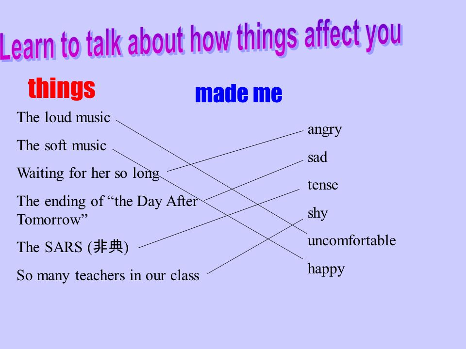 Learn to talk about how things affect you