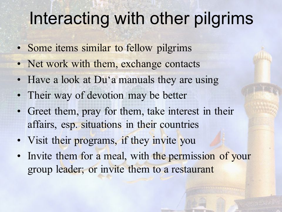 Interacting with other pilgrims