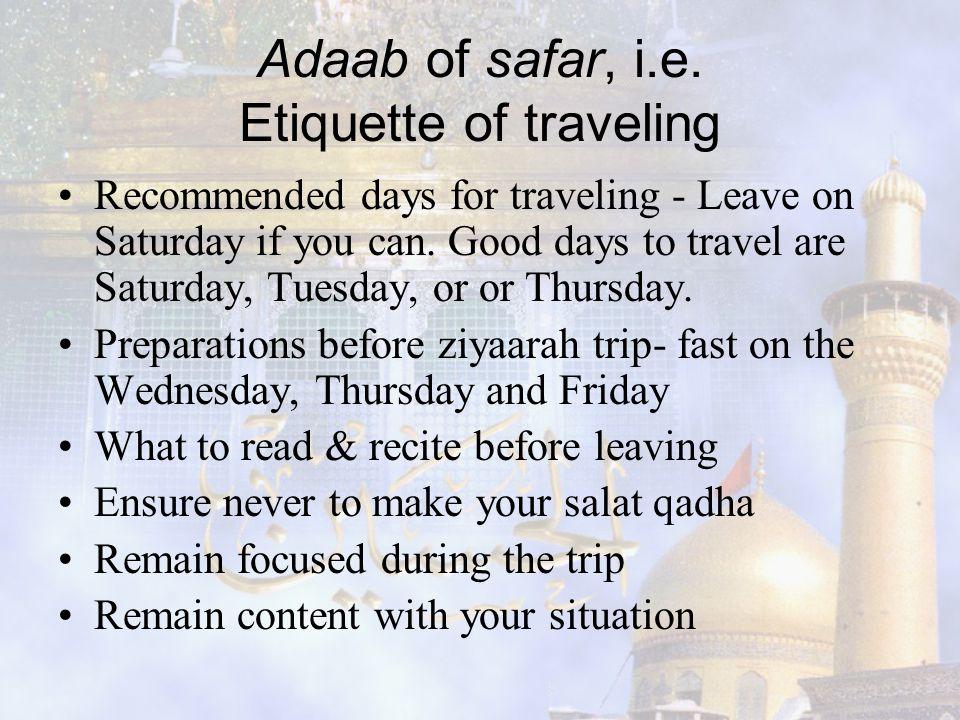 Adaab of safar, i.e. Etiquette of traveling