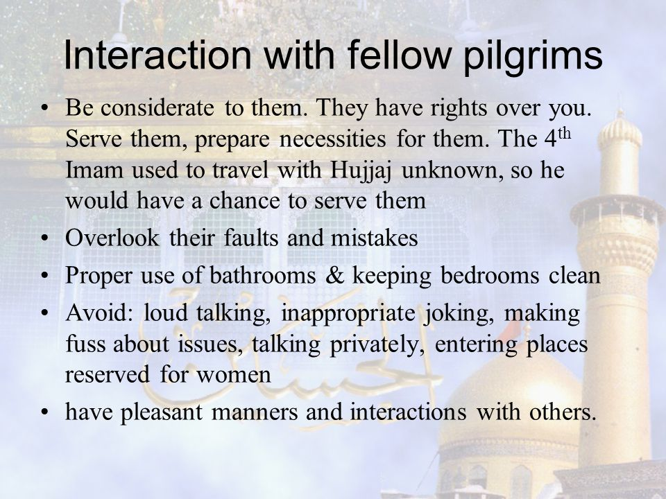 Interaction with fellow pilgrims