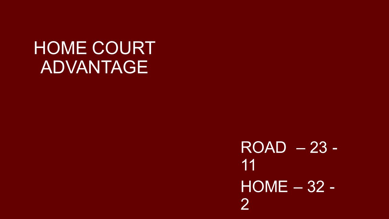 HOME COURT ADVANTAGE ROAD – 23 -11 HOME – 32 - 2