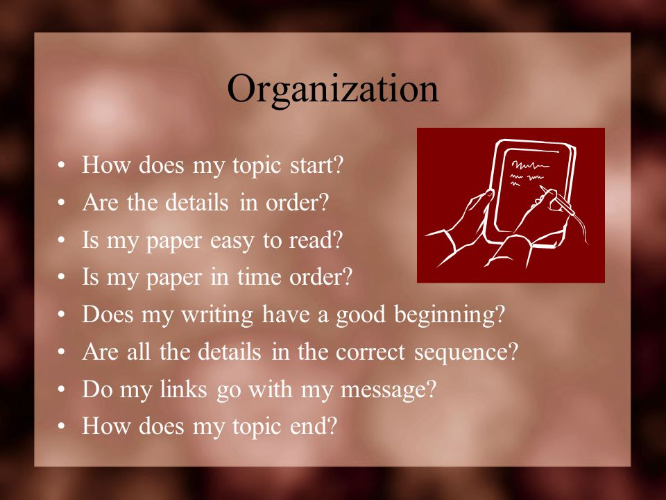 Organization How does my topic start Are the details in order