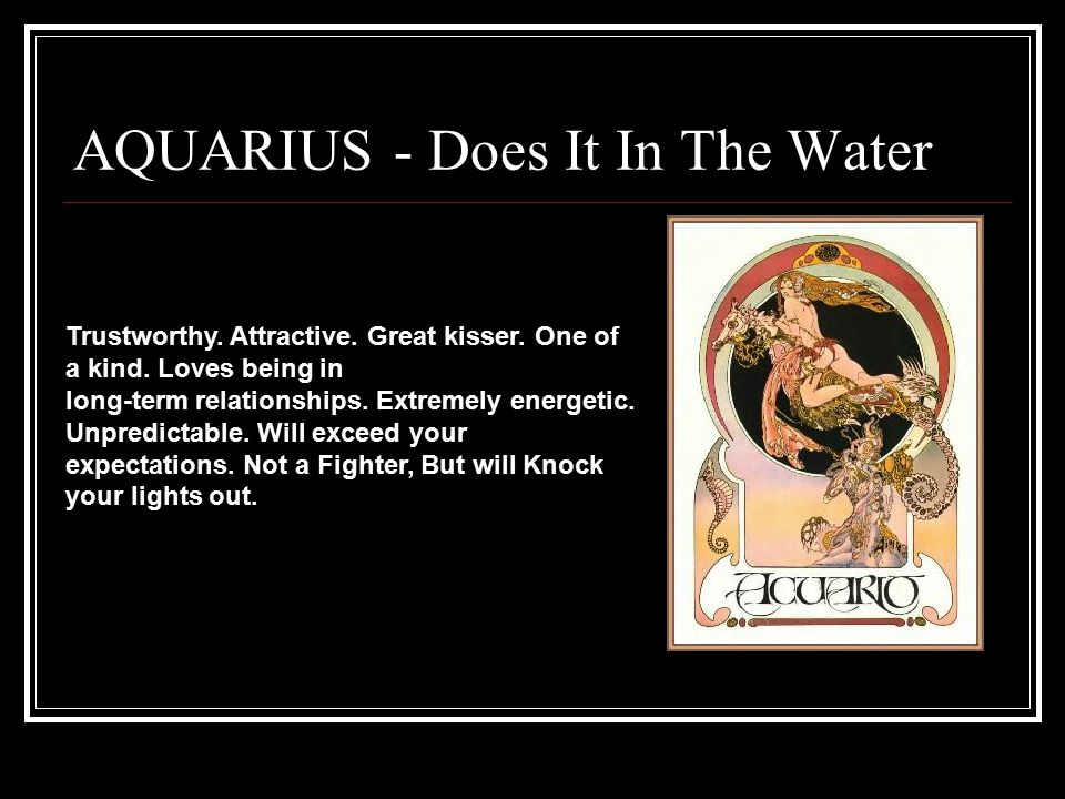 AQUARIUS - Does It In The Water