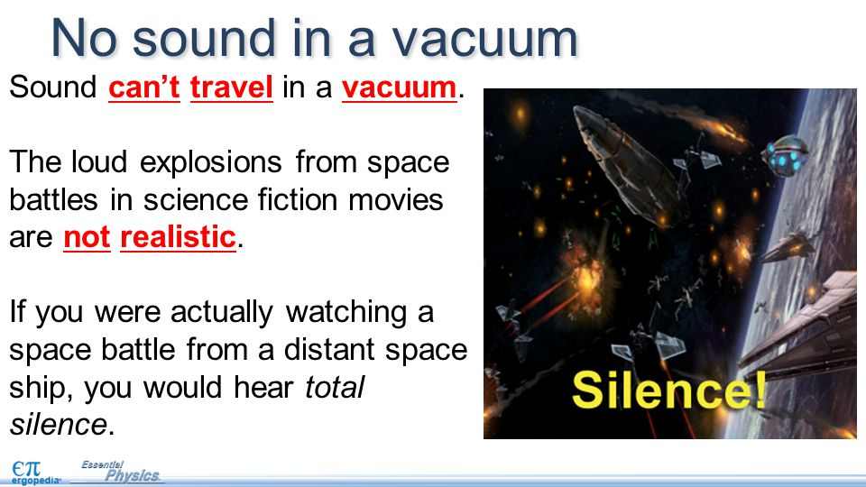 No sound in a vacuum Sound can't travel in a vacuum.