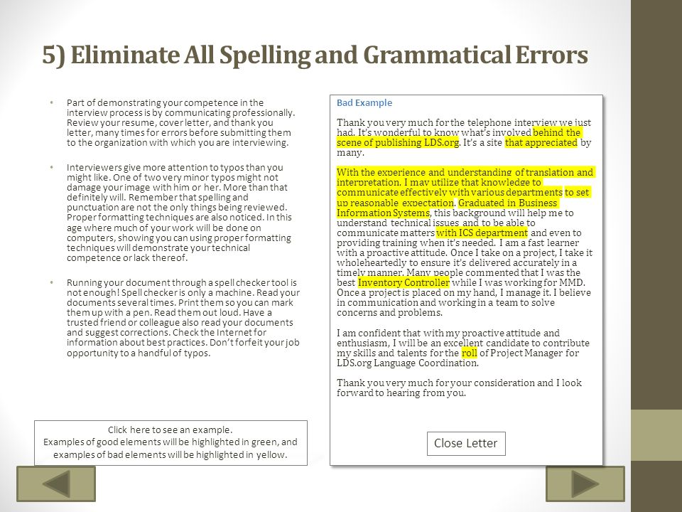5) Eliminate All Spelling and Grammatical Errors