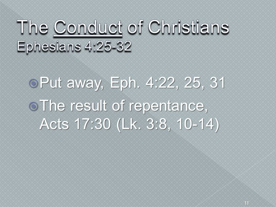 The Conduct of Christians Ephesians 4:25-32
