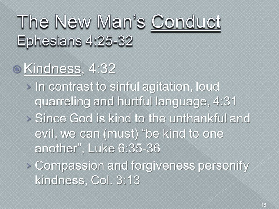 The New Man's Conduct Ephesians 4:25-32