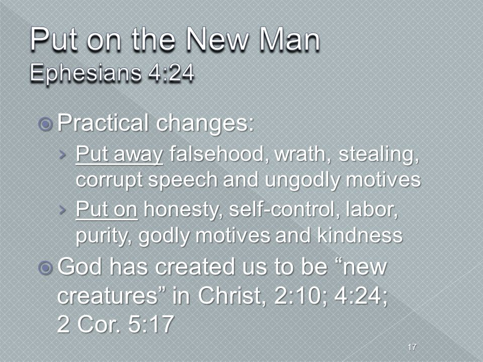 Put on the New Man Ephesians 4:24