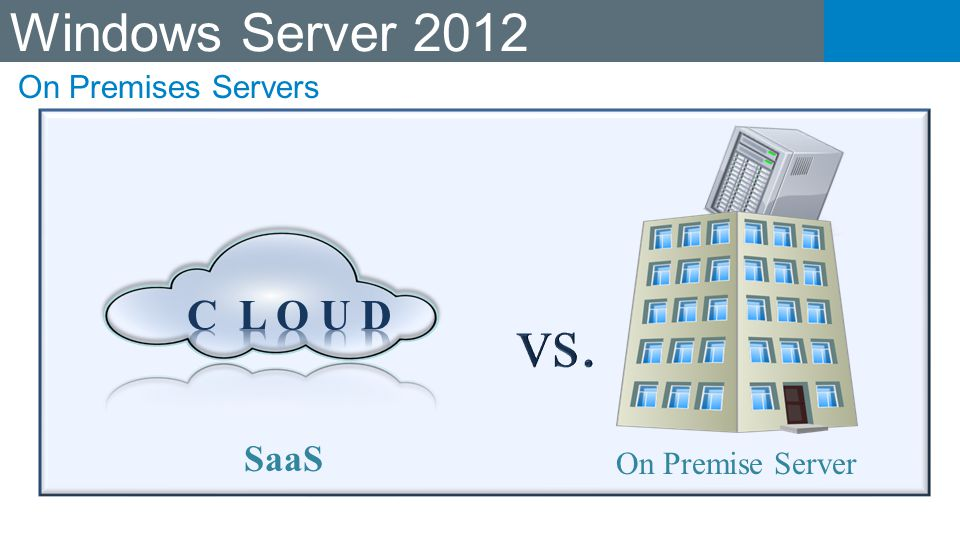 vs. Windows Server 2012 C L O U D SaaS On Premises Servers