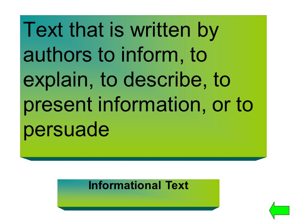 Text that is written by authors to inform, to explain, to describe, to present information, or to persuade