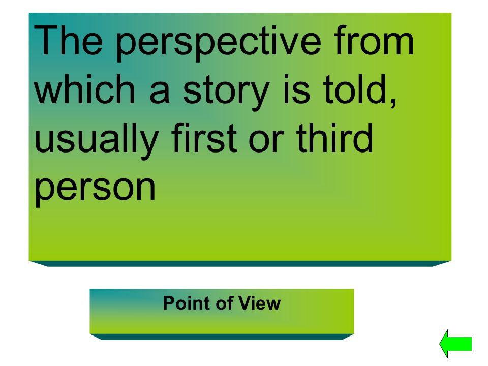 The perspective from which a story is told, usually first or third person