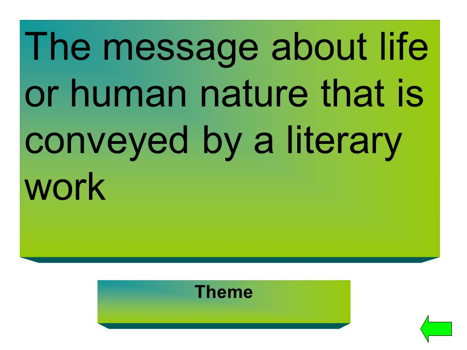 The message about life or human nature that is conveyed by a literary work