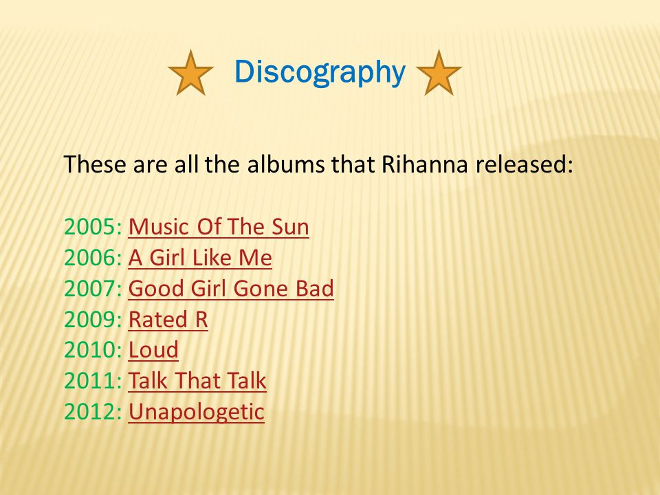 Discography These are all the albums that Rihanna released: