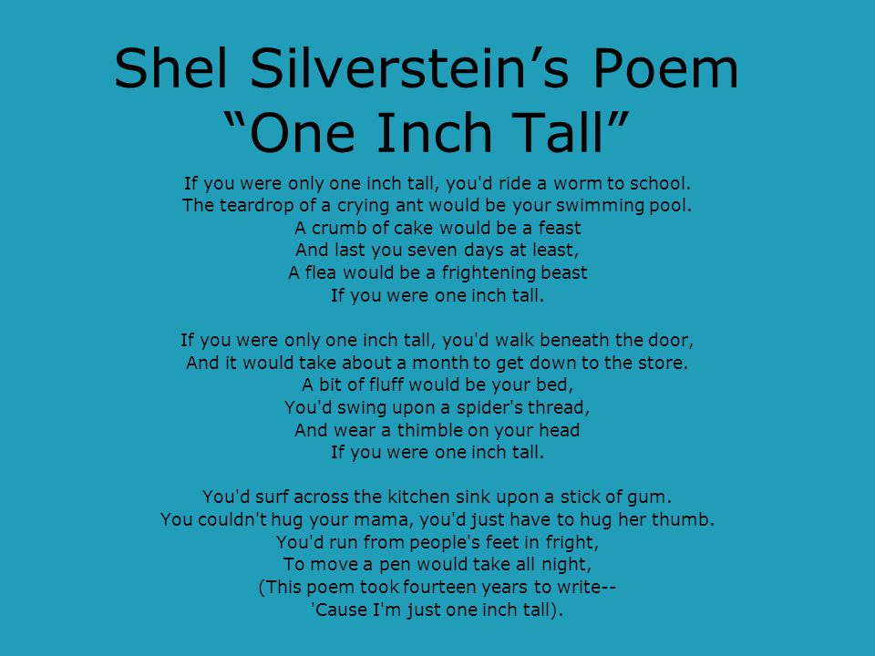 Shel Silverstein's Poem One Inch Tall
