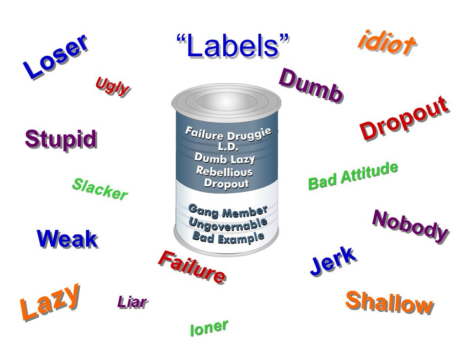 Labels Lazy idiot Loser Dumb Dropout Stupid Weak Jerk Shallow Nobody