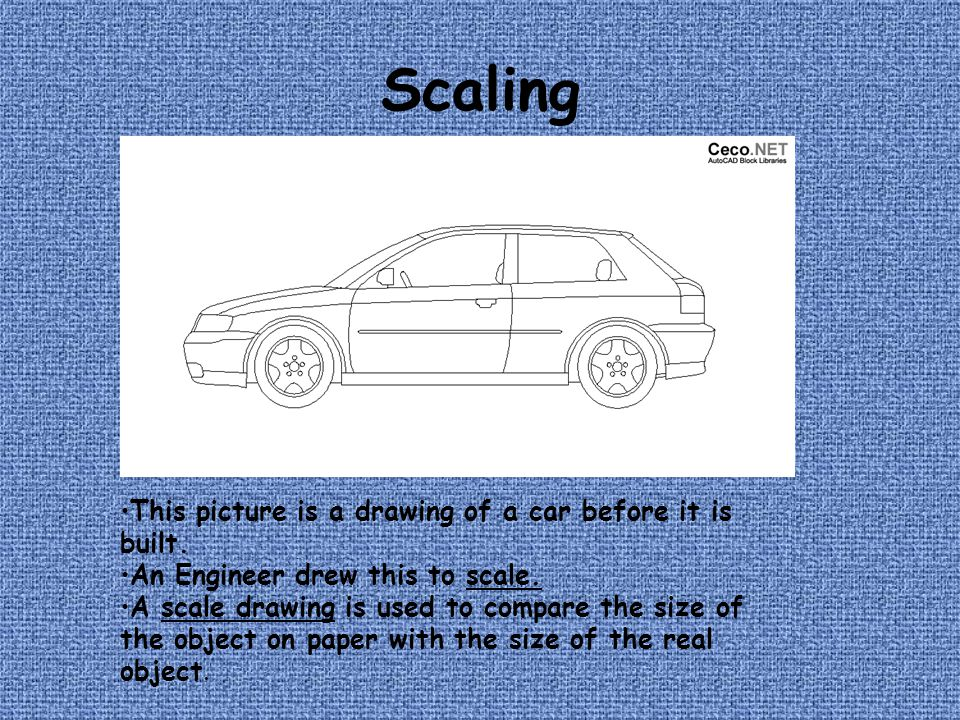 Scaling This picture is a drawing of a car before it is built.