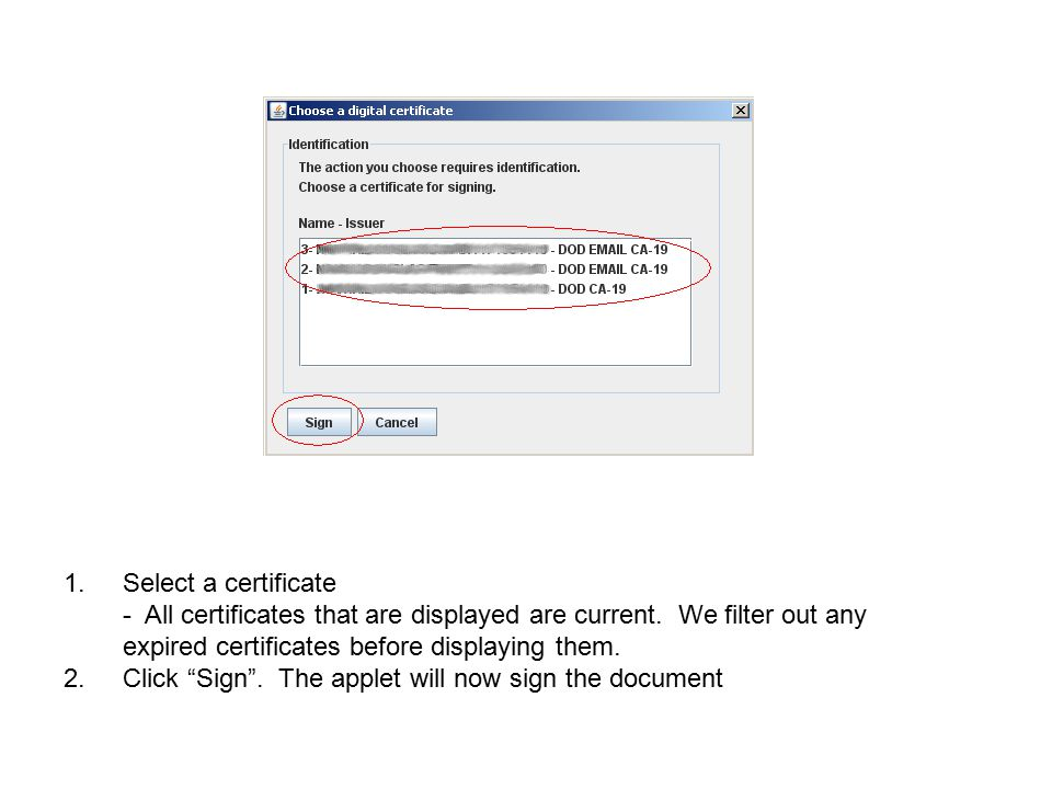 Select a certificate - All certificates that are displayed are current