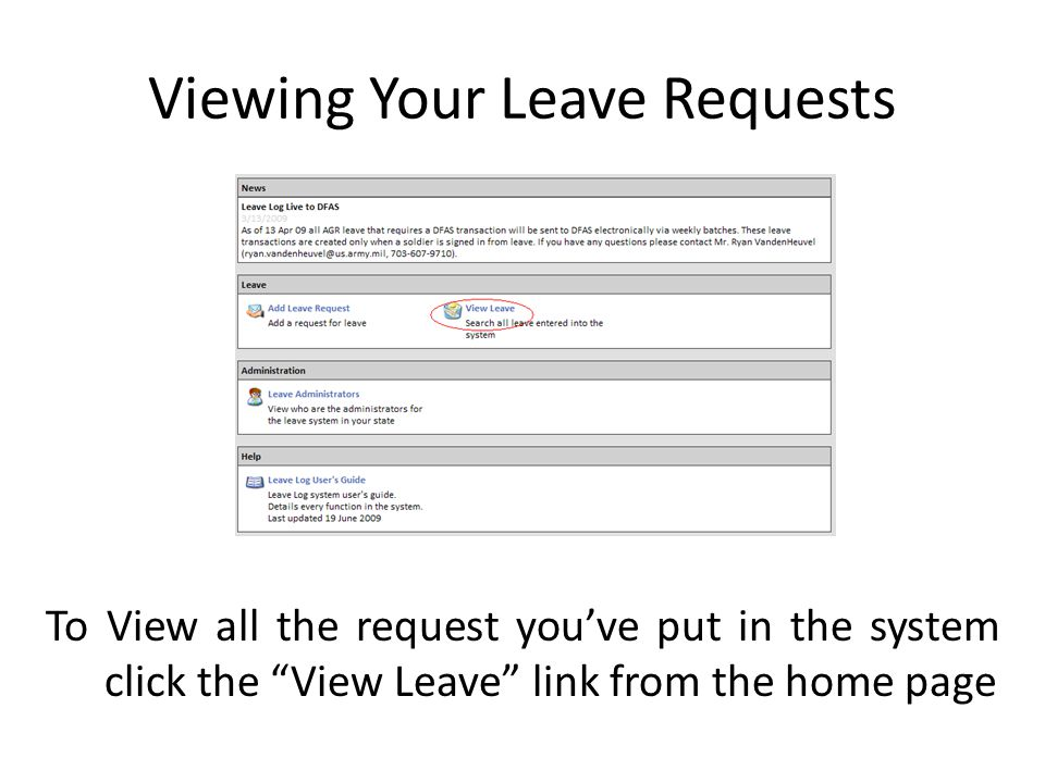 Viewing Your Leave Requests