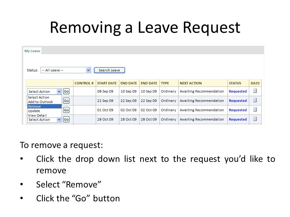 Removing a Leave Request