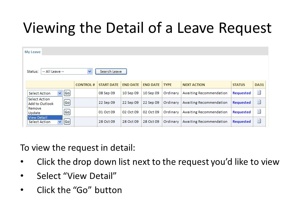 Viewing the Detail of a Leave Request