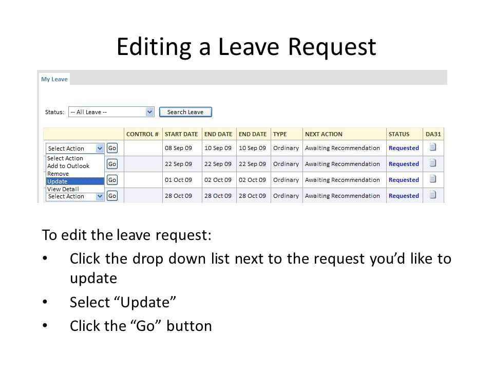 Editing a Leave Request