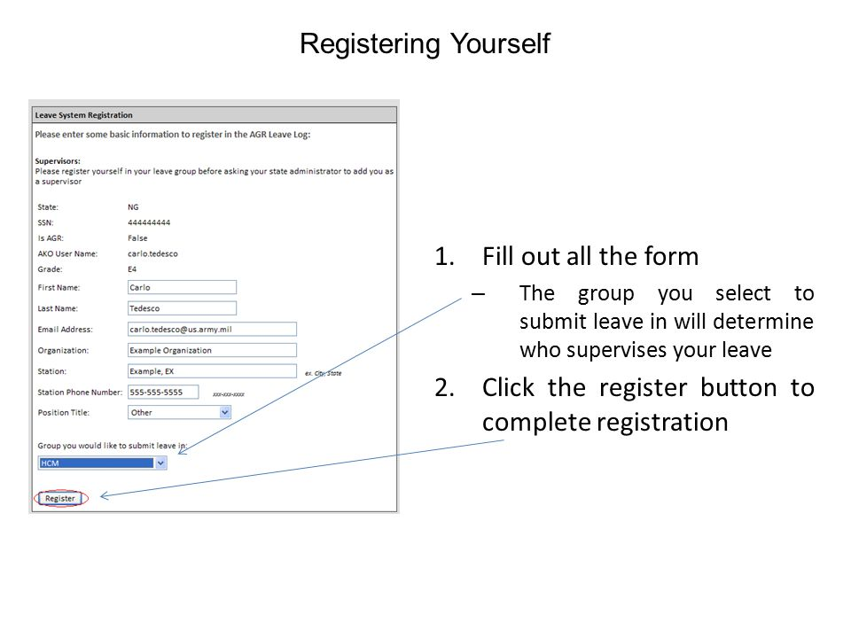Click the register button to complete registration