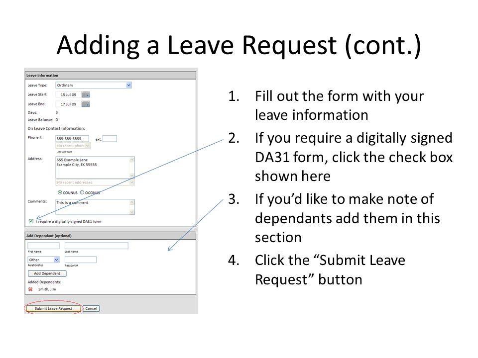 Adding a Leave Request (cont.)