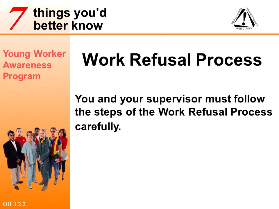 Work Refusal Process You and your supervisor must follow the steps of the Work Refusal Process carefully.