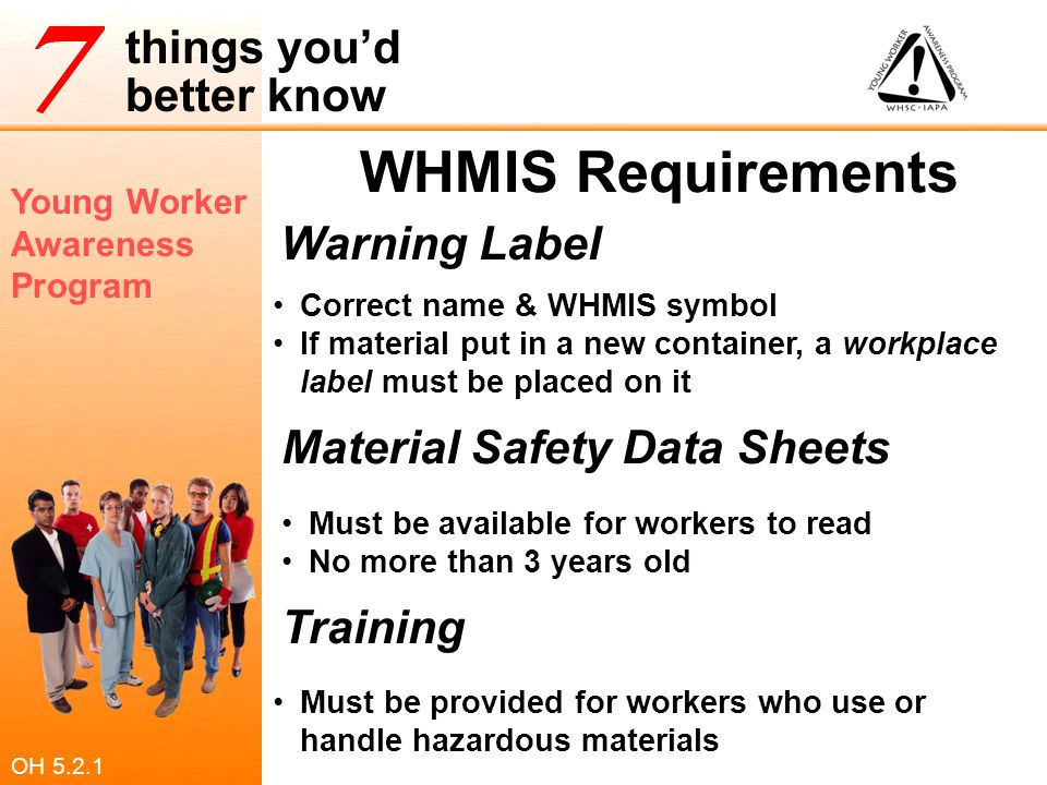 WHMIS Requirements Warning Label Material Safety Data Sheets Training