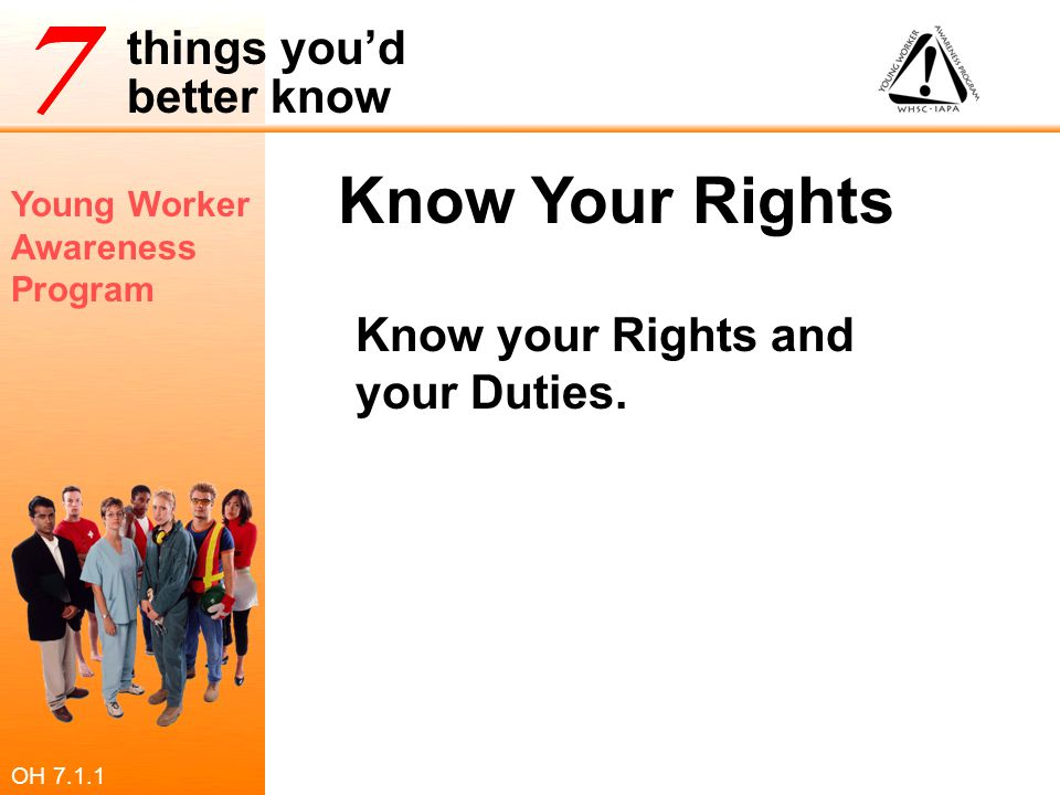 Know Your Rights Know your Rights and your Duties. OH 7.1.1