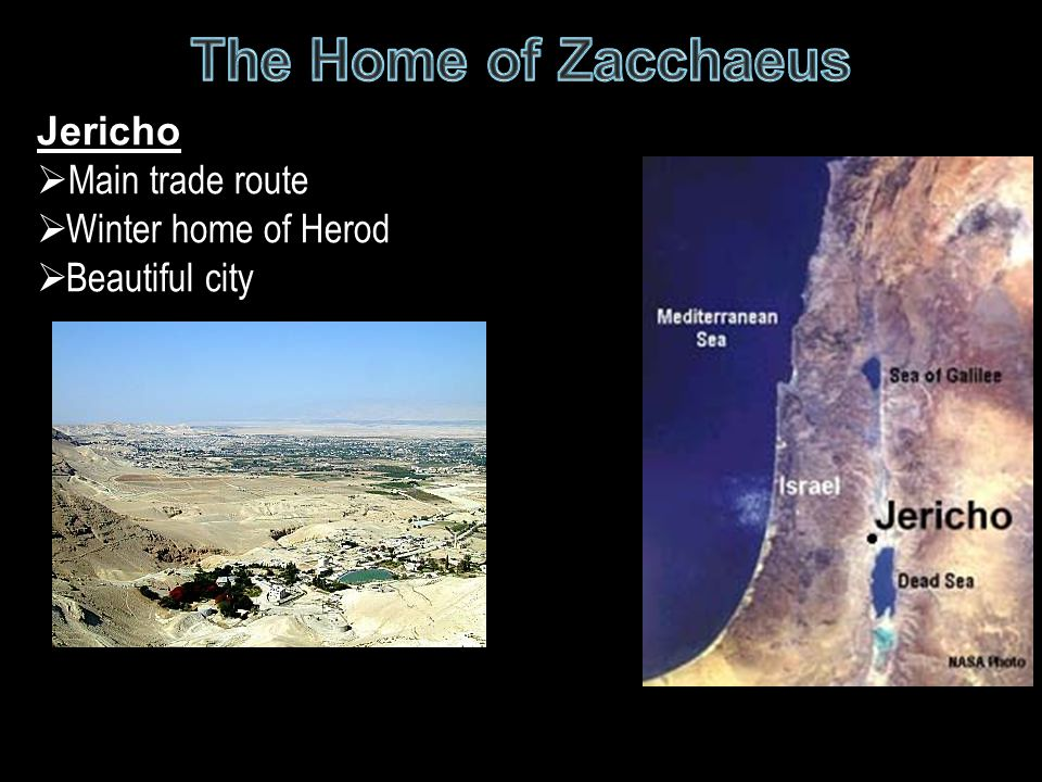 The Home of Zacchaeus Jericho Main trade route Winter home of Herod