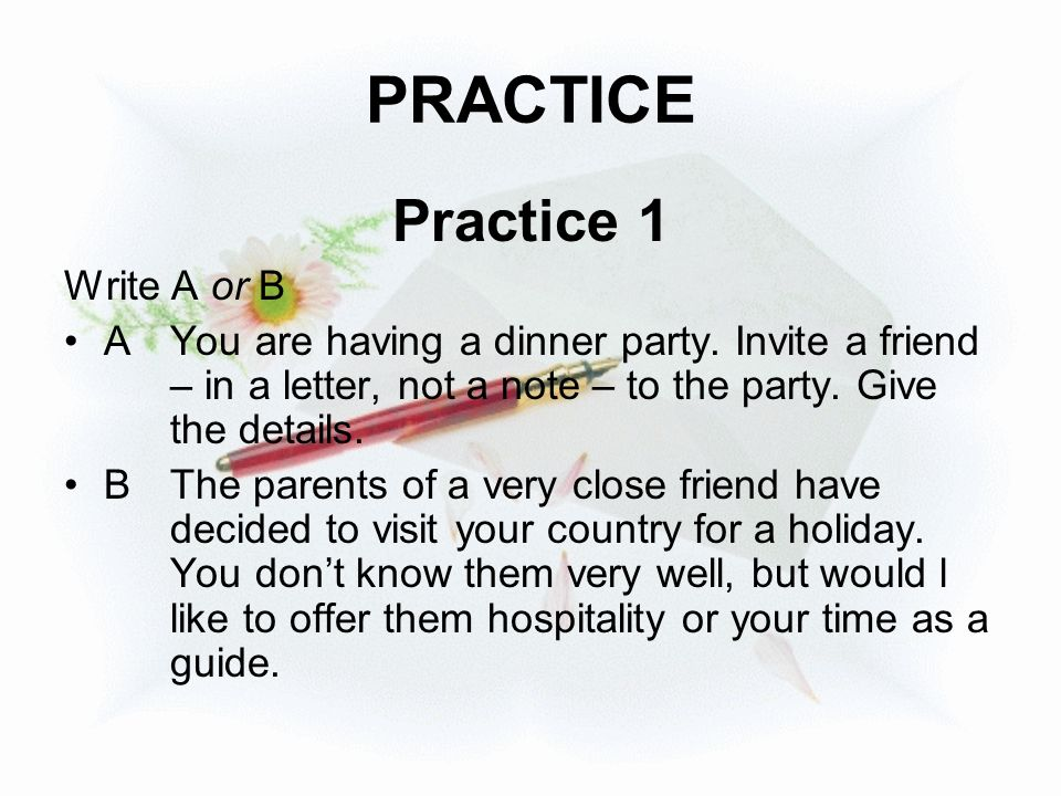 PRACTICE Practice 1 Write A or B