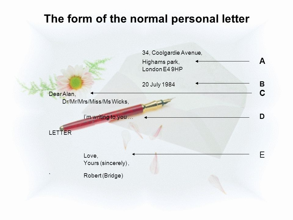 The form of the normal personal letter