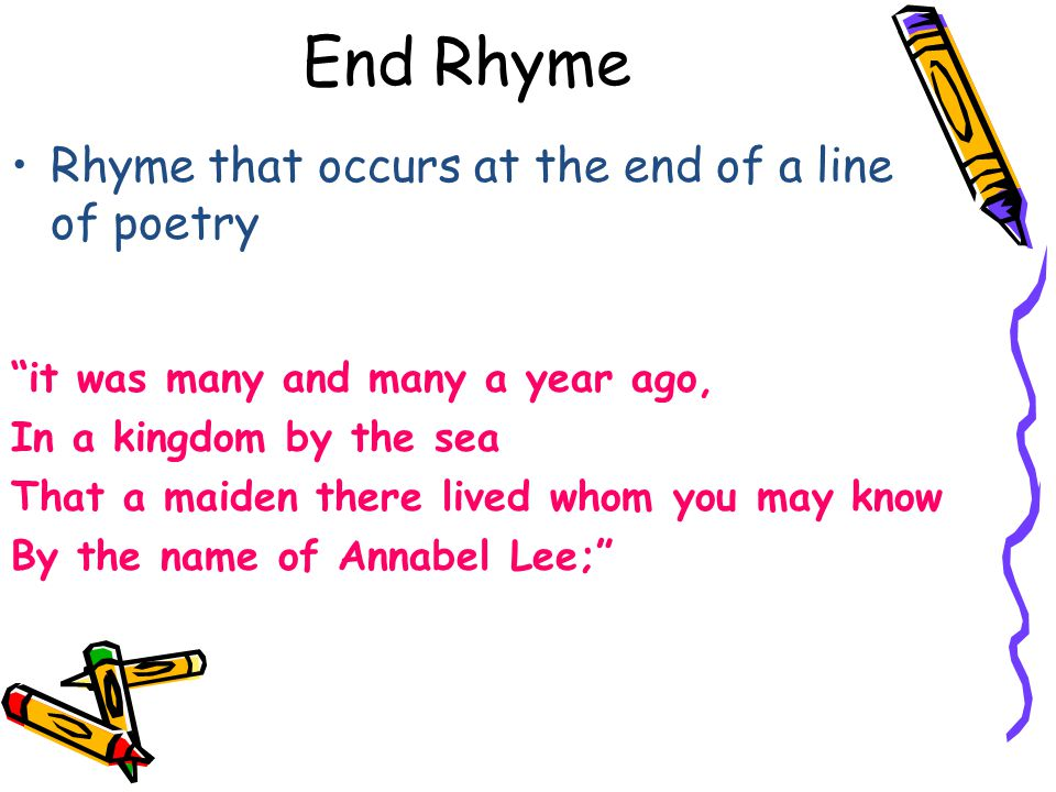 End Rhyme Rhyme that occurs at the end of a line of poetry