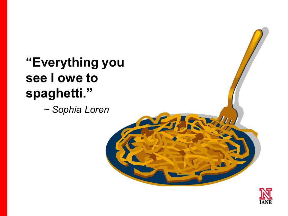 Everything you see I owe to spaghetti. ~ Sophia Loren